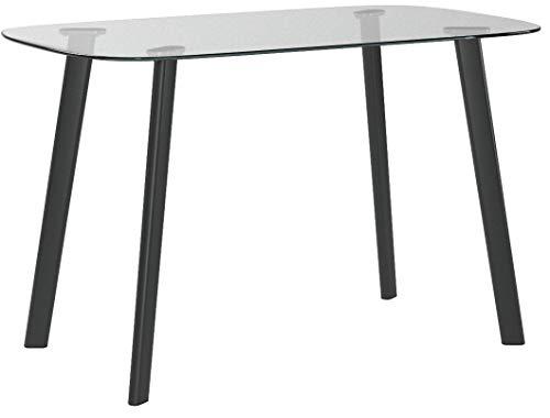 ESTEXO Glas Esstisch ETRE-4B mit abgerundeten Ecken und 4 Beinen in schwarz