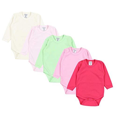 TupTam Mädchen Baby Body Langarm Unifarben 5er Pack, Farbe: Farbenmix 2, Größe: 56