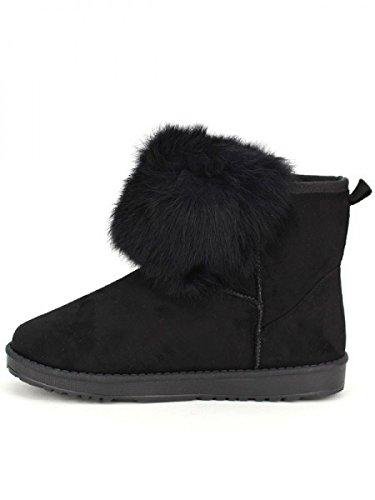Cendriyon, Boots Noires Fourrées BELSNA Chaussures Femme Noir