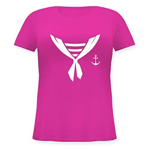 (Karneval & Fasching - Seefahrer Halstuch Kostüm - L (48) - Fuchsia - JHK601 - Lockeres Damen-Shirt in großen Größen mit Rundhalsausschnitt)