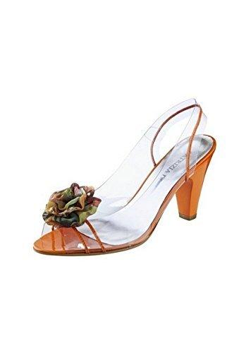 Sandalo col tacco alto Donna con Fiore in stoffa di Patrizia Dini Arancione