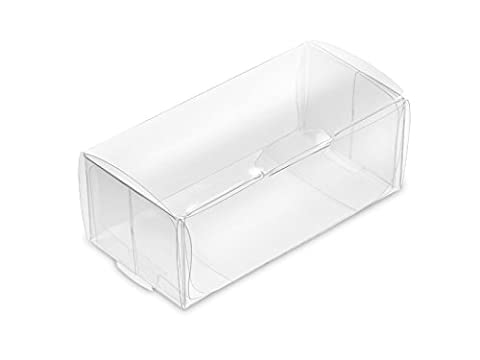 Pack of 10 PVC Box Rectangle, Clear, 8 x 4 x 3 CM, Box for Wedding / Christening Cake Cases