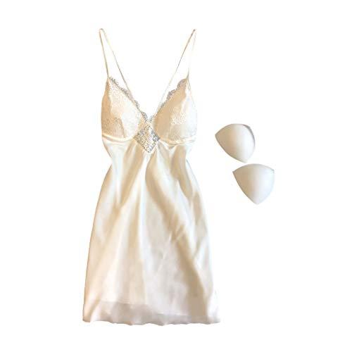 Deloito Damen Spitze Teddy Dessous Nachthemd Simulation Tiefer V-Ausschnitt One Piece Nightdress Unterwäsche Negligee Kleid Babydoll Schlafanzug Reizwäsche (Weiß,XXX-Large) -
