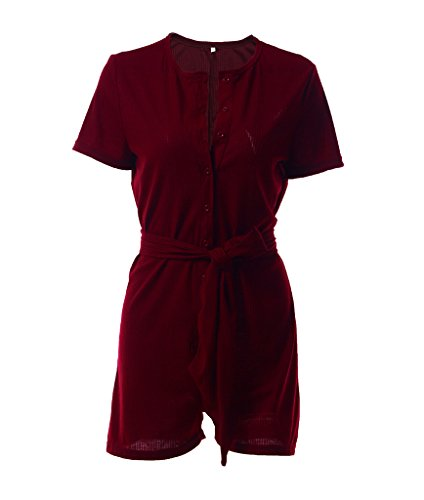 Smile YKK Damen Kurzarm Sommer Casual Overall Jumpsuit Romper Playuit Weinrot