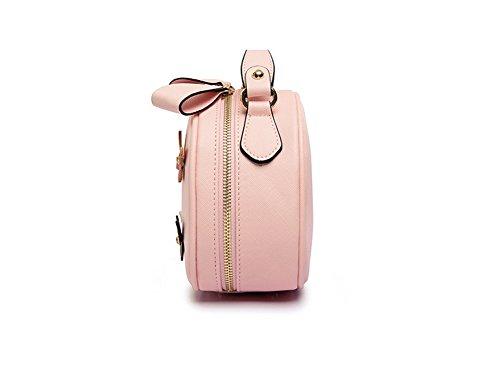 EveryGo1 Neue Mode Mädchen Crossbody Taschen Umhängetasche Messenger Bag Schmetterling Kleine Runde Tasche Rosa