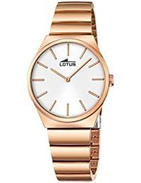 7087ae7358b2 Lotus – Reloj de Cuarzo para Mujer con Esfera analógica de Plata y Oro Rosa  Acero