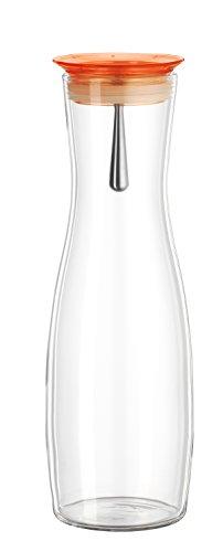 """Bohemia Cristal 093 006 110 SIMAX Karaffe ca. 1250 ml aus hitzebeständigem Borosilikatglas mit praktischem Ausgießer aus Kunststoff orange """"Viva"""""""