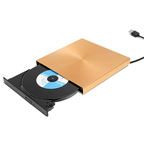 Traioy Computer Externer USB 3.0-Brenner für externes Brennen DVD-Brenner CD-ROM-Player Ultradünner, tragbarer Computer,Gold