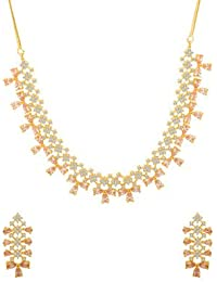 Voylla Traditional Brass With Yellow Gold Plated Cubic Zirconia Necklace Sets For Women - B0783QN8QD