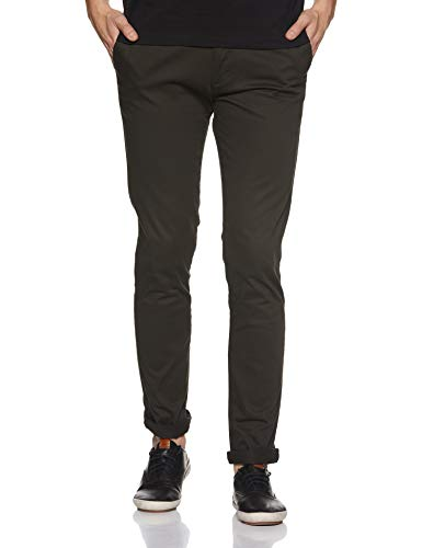 Red Tape Men's Olive Solid Casual Trouser (RTC6716_Olive_34W x 34L)