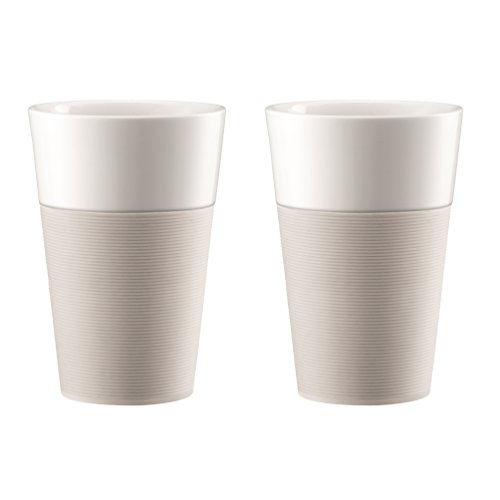 Bodum 11583-913 - Bistro - Set de 2 Mugs en Porcelaine - 0,6 L - Bande Silicone Blanche