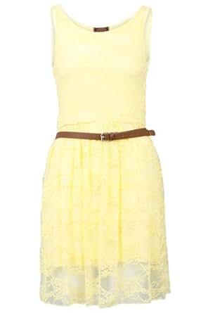 90Z New Womens Yellow Party Lace Belt Skater Skirt Smart Dress Size 8/10
