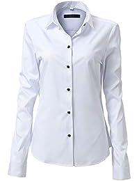 836d384f8d FLY HAWK Camicia Basic da Donna Manica Lunga - Camicetta Casual Blusa  Chiusura Bottoni Slim Fit