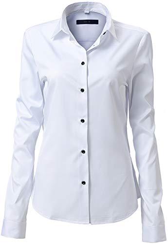 FLY HAWK Damen Hemd Bluse Basic Bambusfaser Hemdbluse Slim Fit Arbeitshemden Langarm Stretch Hemden Freizeit Business Elegant Hemd Größe 34 bis 52