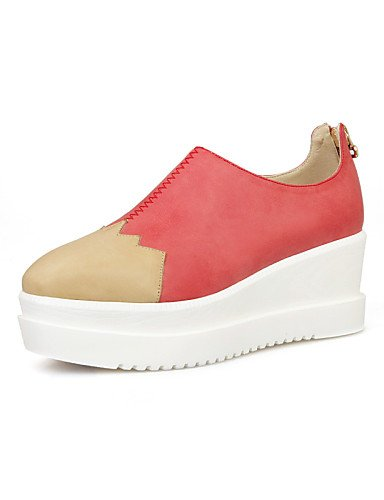 ZQ Scarpe Donna - Stringate - Tempo libero / Formale / Casual - Creepers / Stivaletto / Chiusa - Plateau - Similpelle - Verde / Rosso , red-us10.5 / eu42 / uk8.5 / cn43 , red-us10.5 / eu42 / uk8.5 / c red-us6.5-7 / eu37 / uk4.5-5 / cn37