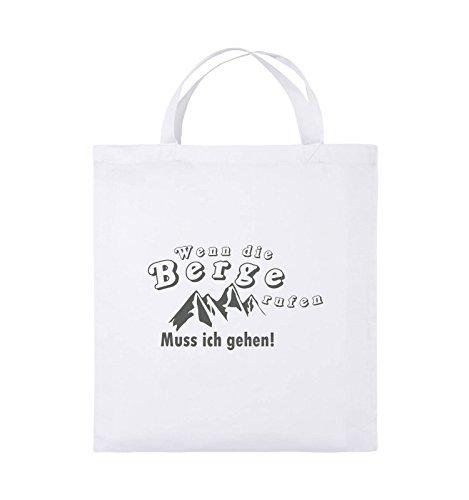 Comedy Bags - Wenn die Berge rufen - BERGE - Jutebeutel - kurze Henkel - 38x42cm - Farbe: Schwarz / Silber Weiss / Grau