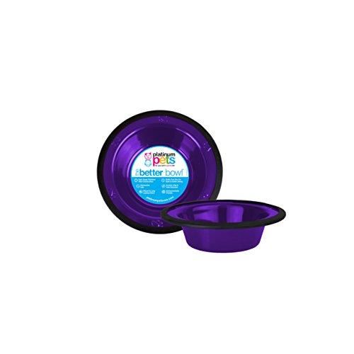 Platinum Pets Edelstahl für 1Tasse Schale mit breitem Rand, Violett