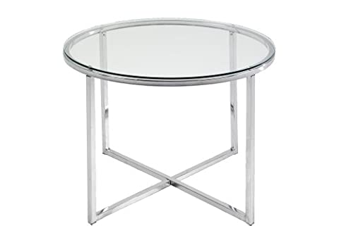 ABC Home Scandinavian Style Chrome Lamp Table, Silver