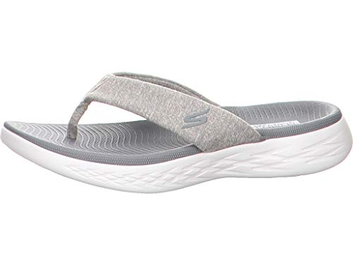 Skechers on-The-GO 600 Damen Pantolette Größe 42 EU Grau (Gry Grey) - Stoff Schuhe Keil Damen Sandalen