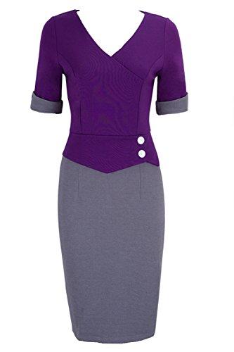 Frauen - V - Patchwork - Bodycon Bleistift Party - Kleid Purple