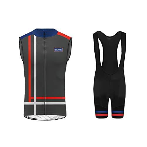 Uglyfrog Completo da Ciclismo Uomo, Abbigliamento da Ciclismo Estivo Gilet o/Maglia Senza Maniche + Salopetteon 3D Gel Cuscino Traspirante e Asciugatura Rapida per MTB Bici da Corsa Bici Set