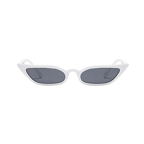 Makefortune Frauen Sonnenbrillen, Frauen-Weinlese-Katzenaugen-Sonnenbrille-Retro- kleiner Rahmen UV400 Eyewear arbeiten Damen-Gläser um (Weiß)