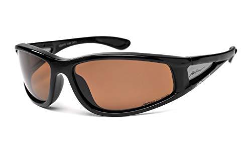 Arctica ® S-69 Polarisiert & Schwimmende Sport-Sonnenbrille. Zum Fahren, Angeln, Segeln, Radfahren oder für den täglichen Gebrauch. (Schwarz, Braun, Kat. 3)