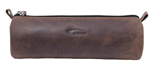 Menzo Vintage Federmäppchen aus echten Leder, Federtasche, Federmappe, Stifte, Schule, für Jungen und Mädchen (marrone)