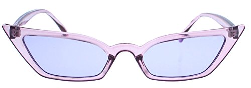 Super schmale Cat Eye Sonnenbrille im Stil der 40er 50er Jahre Rockabilly Blogger Fashion CS13 (Lila transparent)