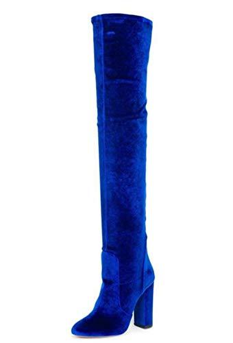 QZX Boots Damen Oberschenkel Hoch Stiefel Neu Sexy Blockabsatz Stretch Hohe Stiefel Overknees Abend Größe EU (Sexy Oberschenkel Hohe Stiefel)