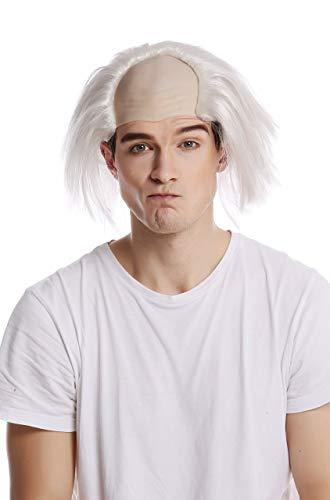 WIG ME UP - 91024-ZA68 Perücke Glatze Halbglatze Halloween Karneval Weiße Haare Einstein Igor Professor Alter Opa