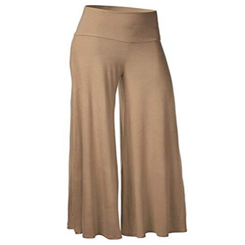Verschnaufpause Frauen Yoga Hosen Sport Übung Fitness Yogahosen mit weitem Bein Falten Mischen Sporthosen x1 Khaki M -