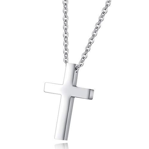 Lareina.C Kreuzanhänger aus Edelstahl Halskette Herren Damen Silber Christlich Kreuz Ketten für Männer Frauen 50cm (Silber)