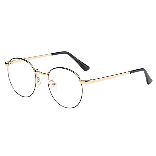 Zhuhaixmy Unisex Klassisch Metall Runden Felge Komfortabel Brille Kurzsichtig Kurzsichtigkeit Brillen Harz Löschen Linsen (Stärke -2.5, Schwarz & Gold) (Diese sind nicht Lesen Brille)