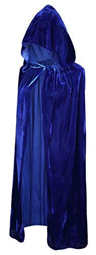 Crizcape Kinder Kostüm-Umhang aus Samt, Cape, Umhang mit Kapuze, ideal für Halloween-Partys, Alter: 2-18 Jahre - blau - M/Alter 5-7