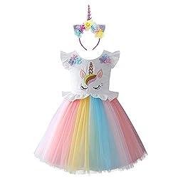 Mädchen Einhorn Party Kleider Cosplay Kostüm Prinzessin Tutu Rock für Festival Geburtstag Festzug Karneval Halloween Foto-Shooting Sommer Outfit für Kinder Jugendliche 3-4 Jahre