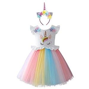 IWEMEK Unicornio Disfraz Niña Vestido