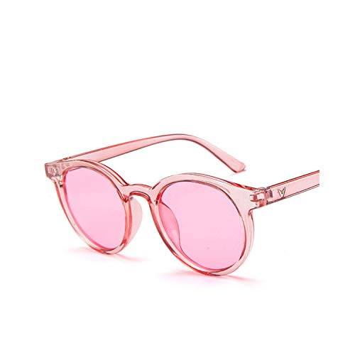 Sportbrillen, Angeln Golfbrille,[EL Malus] New Round Frame Sunglasses Women Retro Brand Designer Pink Green Yellow Sun Glasses Female Fashion Outdoor Driving C5 Pink Pink