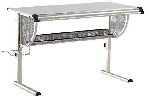 Kinderschreibtisch Schülerschreibtisch Schreibtisch Tisch MADS höhen- und neigungsverstellbar, weiß, stabiles Metallgestell