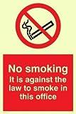 Viking Schilder ps989-a5p-pv No Smoking. Es ist gegen das Gesetz zu Smoke in dieser Office Schild, Aufkleber, nachleuchtend, 200mm H x 150mm W