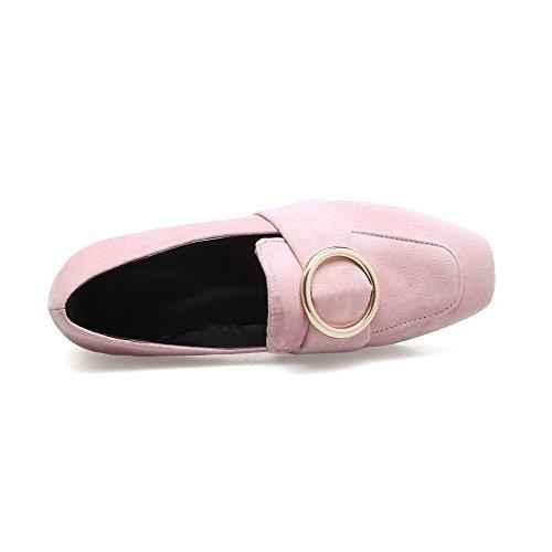 Quedrata Punta Ballet Puro Basso Flats Tacco Tirare Donna Mucca di VogueZone009 Rosa Pelle 6fxwUvqqE