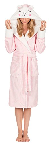- 31am8cLdUlL - Ladies Womens Animal Hooded Robe Dressing Gown Winter Warm Fleece INSIGNIA