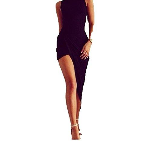 Vestido Apretado Irregular para Mujeres, Holacha Mini Vestido de Vendaje Cóctel Maxi sin Mangas Bodycon Solido Fiesta Negro (S)