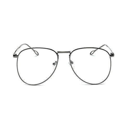 Aoligei Retro-Art Brille Rahmen männliche und weibliches Metall großes Gesicht runder Rahmen mit Spiegel Brillengestell