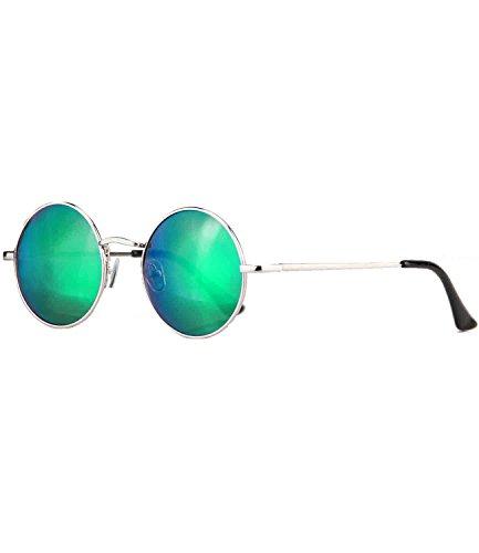 Vintage Sonnenbrille Metall John Lennon runde Gläser Brille Nickelbrille (Silber - Bluegreen verspiegelt - 815) ()
