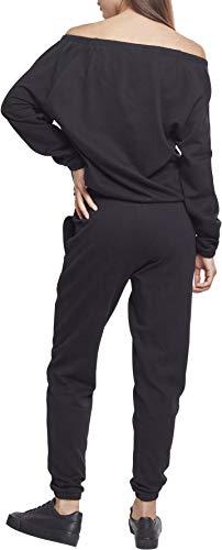 Urban Classics Damen Jumpsuit Ladies Cold Shoulder Terry, Schwarz (Black 00007), X-Small - 2