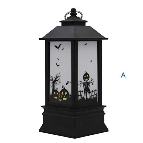 Momola Halloween Laterne,Laterne mit flackernder LED-Kerze Batteriebetrieb,Höhe ca. 20 cm (A)