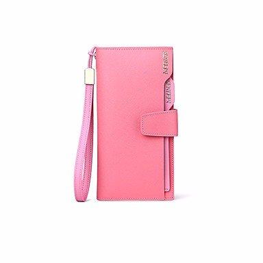 KAFEI Frauen Evening Bag Fell Bi-fold ID Business Card, rot rosa (Snap Streifen Rosa)