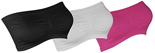 3X Damen Bandeau BH Bra Soft Trägerlos Gogo Top Body Sport Neon Farben bt3 (Schwarz/Weiss/Pink, 34/36)
