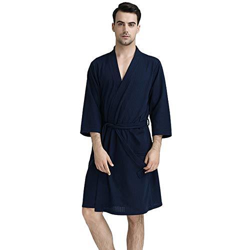 Rojeam Leichte Kimono Waffle Robe für Herren Unisex Spa Bademantel Nachtwäsche